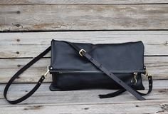 Black Leather Cross Body Purse  Fold Over Clutch  by FeralEmpire