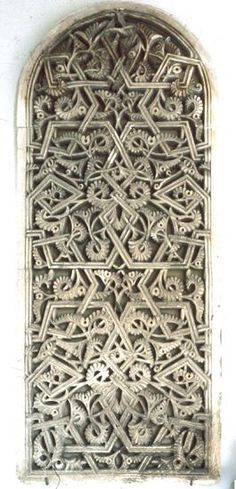Image SPA 3011 featuring latticework from the Alcazabar, in Malaga, Spain, showing Geometric Pattern and Floriated Arabesque using stucco or plasterwork. Art And Architecture, Architecture Details, Malaga Spain, 11th Century, Fortification, Moorish, Dream Garden, Islamic Art, Color Patterns
