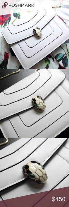 Bvlgari Serpenti Forever White Bag  Beautiful real leather white snake head bag , serpenti collection. Dust bag included . Inspired, highest quality. Also selling this rose dress Good discount for bundle order (2 or more items), check my closet!  ❌No lowballing please  Reasonable offer will be accepted Bulgari Bags Shoulder Bags