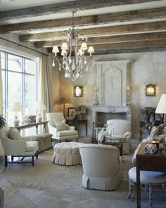 French Country Ceilings | natural materials are found in a french country home rough