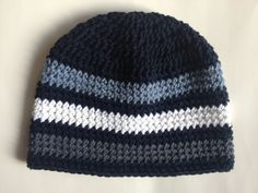 Striped Beanie hat crochet pattern. Includes sizes Newborn up to Adult.