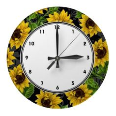 Vintage Yellow Sunflowers On Black Wall Clock Available At Zazzle