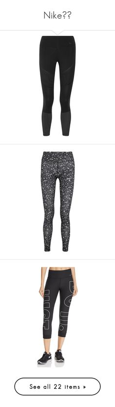 """""""Nike💪🏼"""" by hauteaudrey ❤ liked on Polyvore featuring activewear, activewear pants, leggings, pants, workout, bottoms, black, nike, nike sportswear and nike activewear pants"""