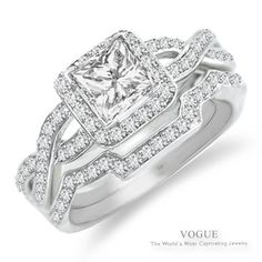 Absolutely Love this 14K White Gold Princess Cut Diamond Engagement Ring with 107 Round Brilliant Cut Diamonds