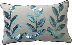 """Decorative Colored Sequins Leaves Floral Throw Pillow COVER 20x12"""" Blue BLUE DOLPHIN http://www.amazon.com/dp/B00FAEKBLO/ref=cm_sw_r_pi_dp_5kdWub0E1QSH2"""