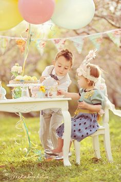 brother and sister tea party shoot