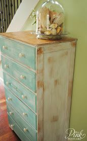 Really cute idea for my bedroom dresser and side table. I like the distressed white with the distressed wood on top. Perfect!