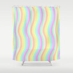 Pastel #Waves #Shower #Curtain
