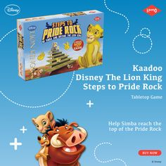 How do you plan to spend lazy weekends this monsoon? Try this wonderful tabletop game Steps to Pride Rock and help Simba claim the Pride lands. This game helps children stay focused and also develops winning traits. Shop Now - Top Ride, Pride Rock, Kings Game, Disney Lion King, Stay Focused, Tabletop Games, 4 Year Olds, Monsoon, Disney Movies