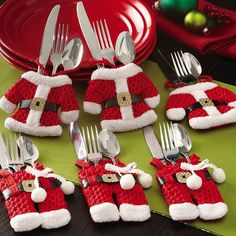 Christmas Decorations Happy Santa Gift Bag Covers Dinner Decor Party Red -- BuyinCoins.com