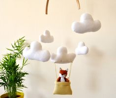 Baby Mobile Clouds Hot Air Balloon Crib Mobile | Fox | 100% Wool Felt Animals | nursery decor | MADE TO ORDER by WhatACurlyLife on Etsy https://www.etsy.com/listing/241225293/baby-mobile-clouds-hot-air-balloon-crib