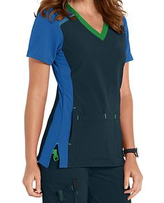 NO SWEAT, NO ODOR Everything you could want in a scrub is embodied in this color block scrub top from Carhartt. It starts with the CROSS-FLEX fabric, which was innovated to provide gentle stretch, moisture-wicking, odor blocking and stain resistance all in one great-looking garment. Four smart front and patch pockets help you keep your accessories at the ready. With contrasting knit sleeves, back yoke, side panels—as well as pop color neckline, bartacks and seaming—it's as attractive as it… Nursing Accessories, Textiles, Medical Scrubs, Side Panels, Scrub Tops, Carhartt, V Neck Tops, Color Pop, Nursing Uniforms