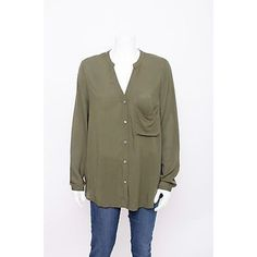 Pre-Owned Haute Hippie Olive Green v Neck Long Sleeve Button Down... ($74) ❤ liked on Polyvore featuring tops, green, long sleeve tops, green top, brown long sleeve shirt, short-sleeve button-down shirts and button down shirts