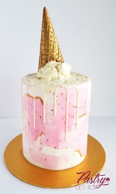Pink and gold ice cream drip cake with a gold cone. Call or email us to design your dream dessert today! Birthday Drip Cake, Fairy Birthday Cake, Birthday Cake Decorating, Cake Decorating Tips, Ice Cream Cone Cake, Ice Cream Party, Cake Designs For Kids, Gravity Cake, Classic Cake