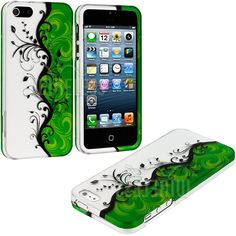 Amazon.com: myLife Black + Green Vines and Swirls Series (2 Piece Snap On) Hardshell Plates Case for the iPhone 5/5S (5G) 5th Generation Tou...
