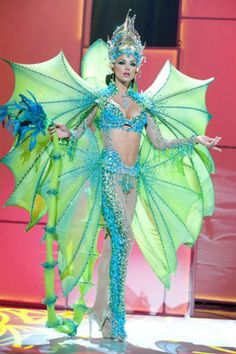 Nick Verreos: Pageant Minute: Miss Universe 2011 National Costumes--Latin America! Miss Universe Costumes, Miss Universe National Costume, Sea Creature Costume, Sea Costume, Stilt Costume, Carnival Costumes, Halloween Costumes, Mermaid Costumes, Couple Halloween