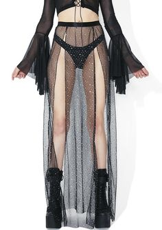 Givin' You Everything Maxi Skirt Look Festival, Festival Mode, Festival Fashion, Festival Clothing, Edm Festival, Sheer Maxi Skirt, Long Maxi Skirts, Slit Skirt, Mesh Skirt