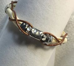 Handmade-Carved Bone-Stainless Steel Hex Nut-Copper Leather Cord Wrapped-Tribal Bracelet by WishboneJewelryCraft on Etsy