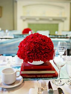 Bright studious red centerpiece
