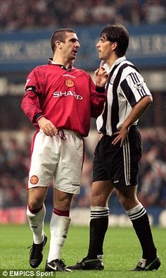 Albert exchanges words with Manchester United talisman Eric Cantona