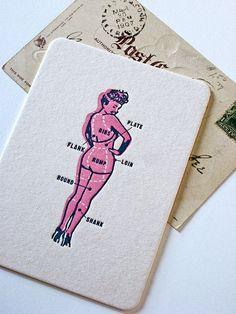Items similar to Pinup Art Print Letterpress postcard on Etsy Pinup Art, Illustration Design Graphique, Graphic Illustration, Art Design, Book Design, Postcard Design, Business Card Design, Creative Business, Business Cards