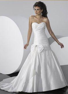 Simple Mermaid White Sweetheart Bowknot Slight Ruched Taffeta Chapel Train Wedding Dress