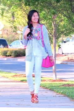 How to style an embroidered shirt - embroidered shirt for spring - outfit inspiration - Grace & Emma Casual Clothes, Casual Outfits, Blog Love, Pink Accents, Blogger Style, White Jeans, My Style, Spring, Shirts