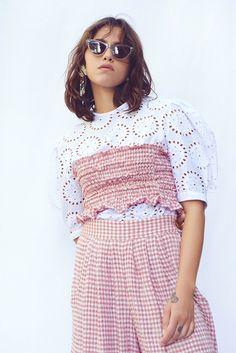 N-DUO checkered top - Pink | Garmentory Sandals For Sale, New Friends, Fabric Material, Most Beautiful, Women Wear, Printed Matter, Boutique, Crop Tops