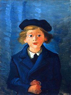 André DERAIN ( 1880 - 1954 ) Portrait du fils de l'artiste «Boby au béret»