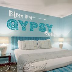 Bless your gypsy soul - embellished vinyl wall decal in your choice of colors to…