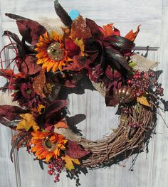 Fall Wreath, Autumn Wreath, Thanksgiving Wreath, Fall Decor, Sunflower Wreath, Door Décor, Harvest Wreath by SilvaLiningDesigns on Etsy