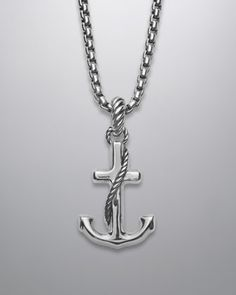 Cable Collectibles Anchor Pendant by David Yurman at Neiman Marcus. Jewelry Accessories, Jewelry Design, Anchor Charm, Anchor Necklace, Nautical Jewelry, Jewelry Companies, David Yurman, Modern Jewelry, Neiman Marcus