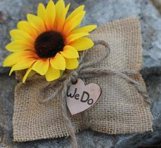 "Wedding Ring Pillow Rustic Wedding, Sunflower Burlap Wedding Pillow, Personalized ""We Do"", Shabby Chic Weddings"
