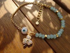 Gold Seafoam Clover Charm Bracelet by cocolocca on Etsy