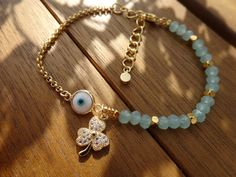 Gold Seafoam Clover Charm Bracelet by cocolocca on Etsy