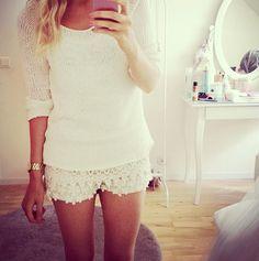 lace shorts. white on white