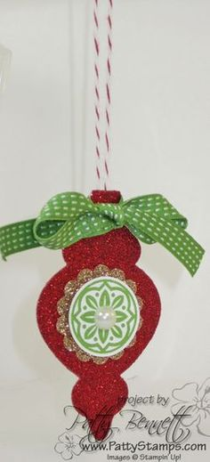 www.PattyStamps.com - Red Glimmer Paper Holiday ornaments - easy Christmas Craft