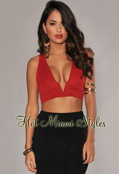 Red Plunging V Neck Cropped Top