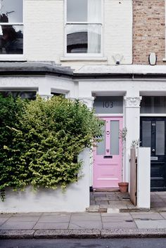 London Calling: 7 Ways to Add Curb Appeal with a Pink Front Door Attic Renovation, Attic Remodel, Pink Door, Turbulence Deco, Painted Front Doors, Attic Rooms, Attic Bathroom, Interior Exterior, Nordic Interior