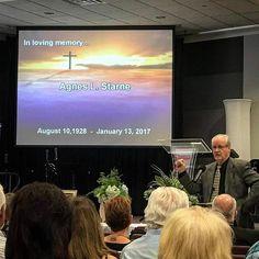 Pastor Art speaks at Agnes Starne's memorial service...