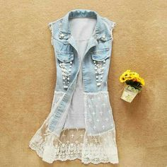 Diy lace jeans, diy lace skirt, denim and lace, diy lace vest, diy jean b. Artisanats Denim, Denim Vests, Denim And Lace, Lace Jeans, Lace Vest, Lace Skirt, Diy Clothing, Sewing Clothes, Diy Fashion