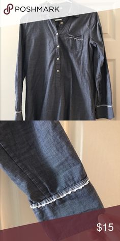 J.Crew chambray tunic This is a light weight J.crew chambray tunic. Could be worn with leggings or as a swim cover up. Frayed detailing. J. Crew Tops Tunics