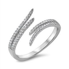 Open Adjustable Stackable Midi Knuckle Sterling Silver Womens Ring Clear Cubic Zirconia Size 9 >>> Click image to review more details.Note:It is affiliate link to Amazon.