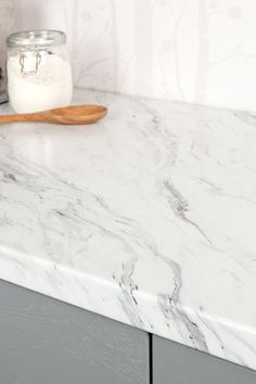 Buy a x x Calcutta Marble laminate worktop from Worktop Express. This marble effect kitchen worktop is available with next-day delivery. Formica Kitchen Countertops, Refinish Countertops, Kitchen Countertop Materials, Marble Effect Kitchen Worktops, Fancy Kitchens, Kitchen Decor, Kitchen Ideas, Kitchen Design, Kitchen Remodel