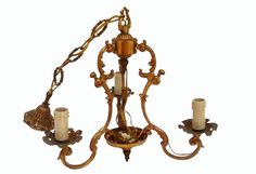 Antique French Brass Chandelier Hanging by FrenchMarketFinds, €100.00
