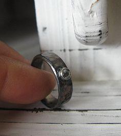 Rose Cut Diamond Ring Oxidized Silver by HotRoxCustomJewelry, $169.00