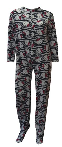 Hello Kitty Zebra Striped Fleece Gripper Bottom Footie Pajama  What a fun spin on a classic animal print background! These pajama sets for women feature the adorable Hello Kitty on a black and white striped micro polar fleece. These super-soft onesie footie pajamas have gripper bottoms, and are slightly elasticized at the back of the ankle. Junior Cut. $35