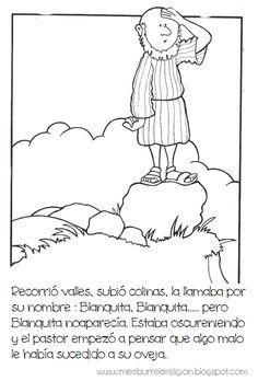 Parábola ilustrada de la oveja perdida.