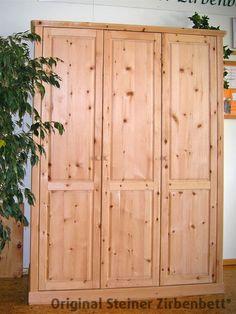Zirbenholzschrank, dreiteilig, Massivholz-Schrank