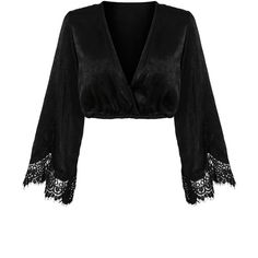 Black Plunge Neck Lace Paneled Flare Sleeve Crop Top (€20) ❤ liked on Polyvore featuring tops, stretchy crop top, plunge neck crop top, flared sleeve top, stretch crop top and bell sleeve crop tops